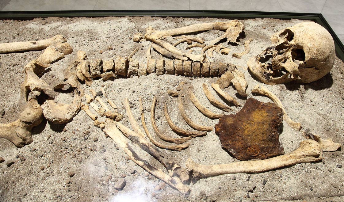 The 800-year-old skeleton found in Bulgaria stabbed through the chest with iron rod to keep it firmly in its grave.