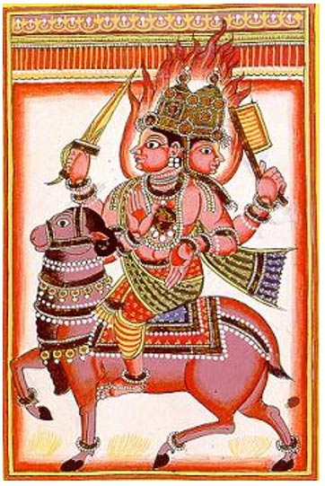 Agni, the Hindu fire deity.