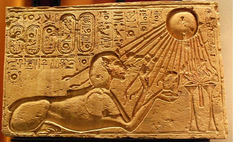 This stone block portrays Akhenaten as a sphinx, adoring Aten. It was originally found in the city of Amarna/Akhetaten.