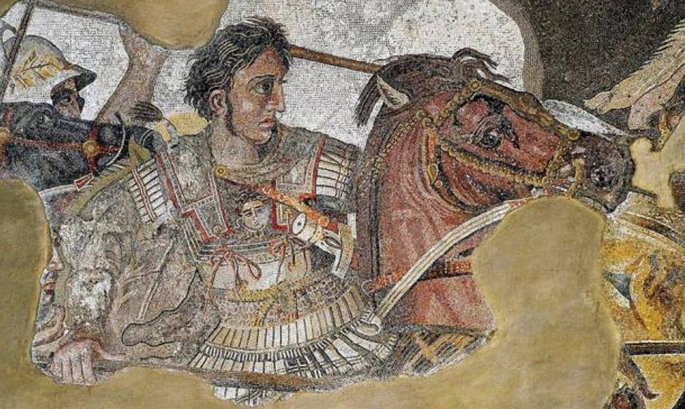 Mosaic detailing the famous military leader and conqueror Alexander the Great/Alexander III of Macedon.