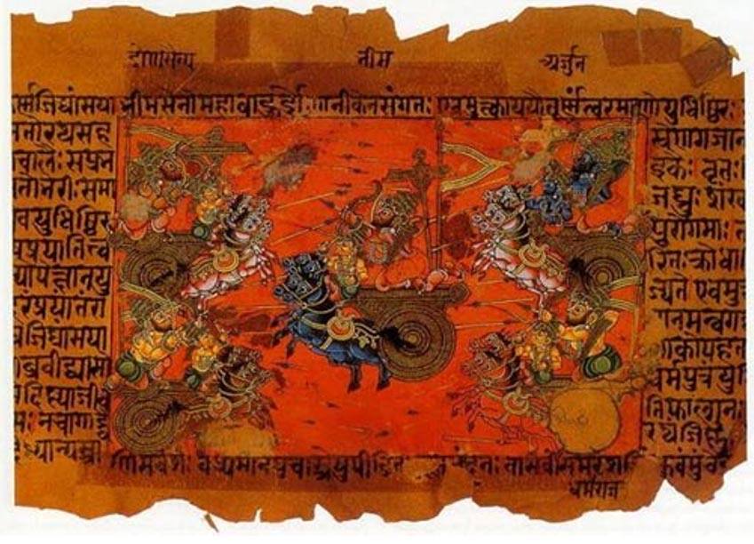 Ancient Hindu texts describe great battles taking place and an unknown weapon that causes great destruction. A manuscript illustration of the battle of Kurukshetra, recorded in the Mahabharata.