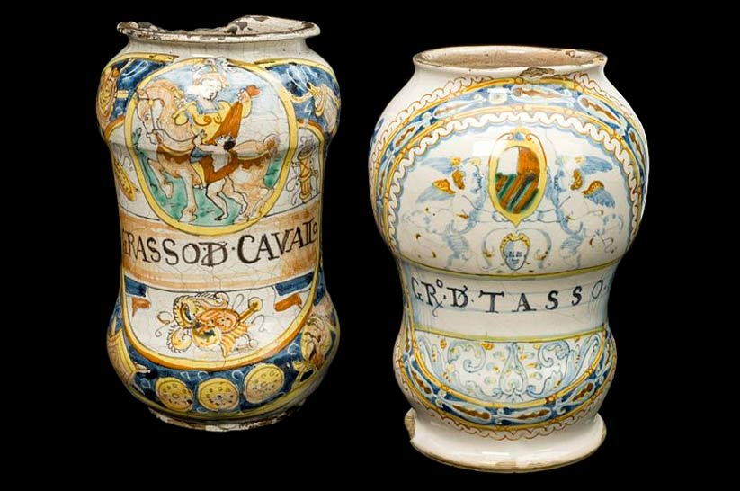 Apothecary drug jars used to store animal fat (horse and badger) for use in ointments, Italy, 1585.