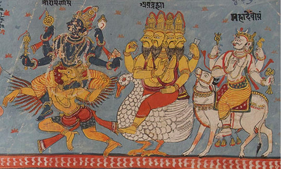 A page of a Bhagavata Purana illustrated manuscript in Devanagari. Illustration depicts Vishnu, Brahma and Shiva seated on their respective vahanas, or mythical mounts.