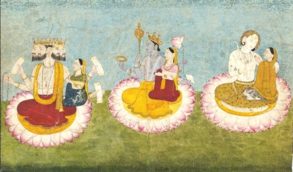 Brahma, Vishnu and Shiva seated on lotuses with their consorts, Sarasvati, Lakshmi and Parvati respectively. ca 1770. Guler, India.