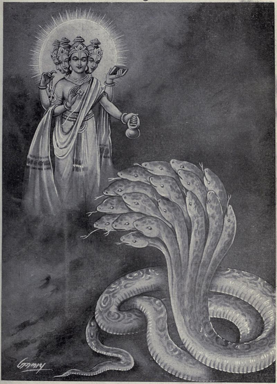 Brahma and Shesha of Hindu creation mythology