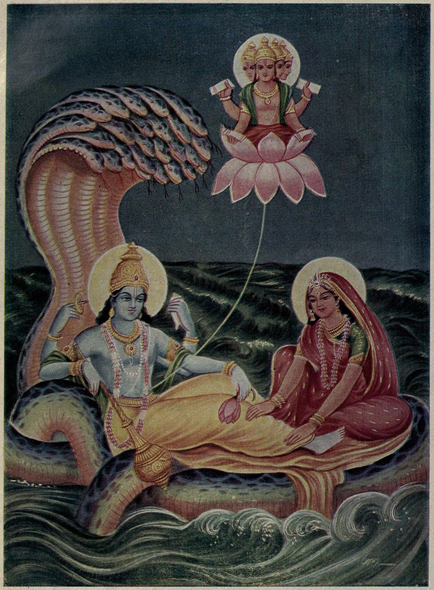 In mythology, Brahma emerges from a lotus risen from Vishnu's navel while he rests on the serpent Shesha.