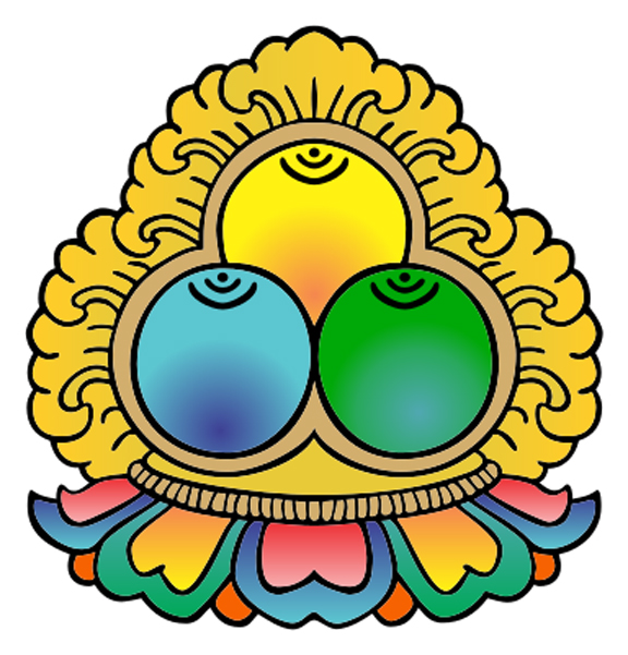 Buddhist symbol representing the Three Jewels (Buddha, Dharma, Sangha)