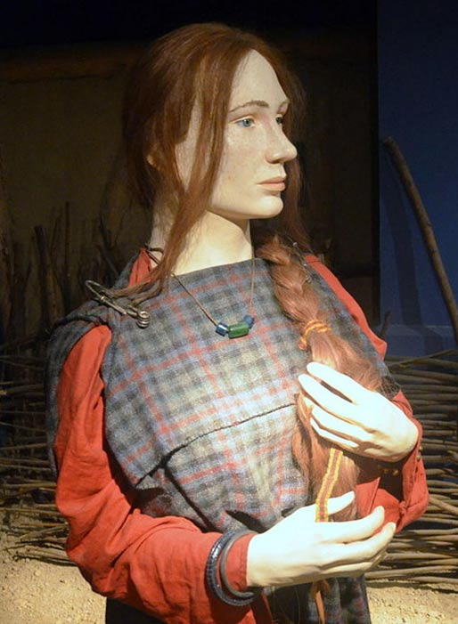 Recreation of a Celtic woman of the Przeworsk culture (3rd century BC, La Tène period), Archaeological Museum of Kraków.