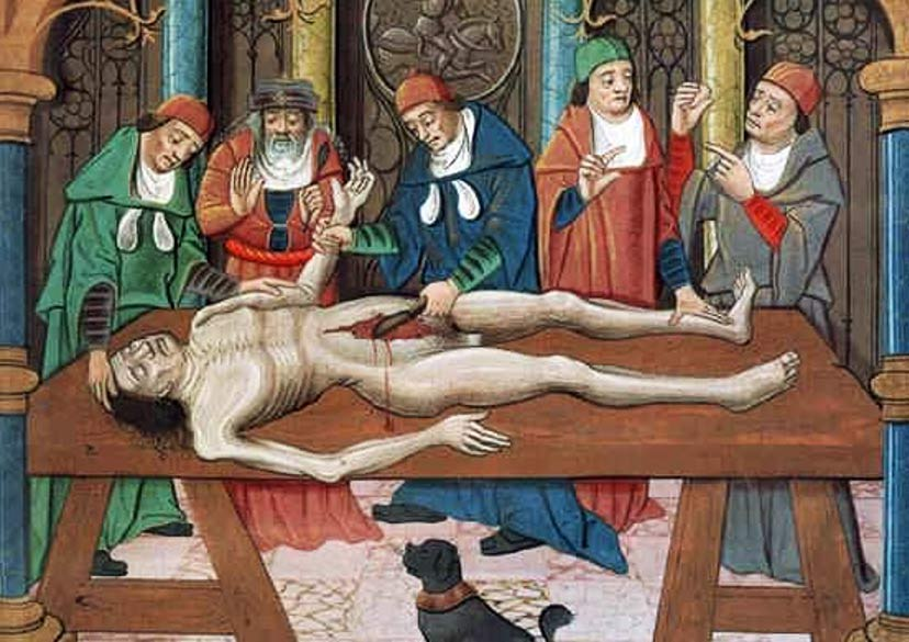 Dissection of a cadaver, 15th century painting.