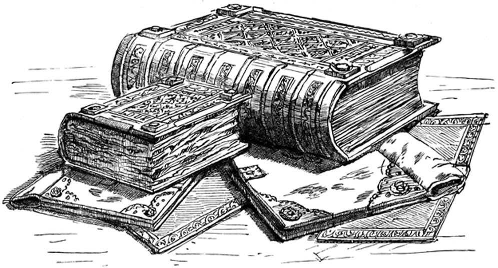 An engraving of the Domesday Book, 1900.