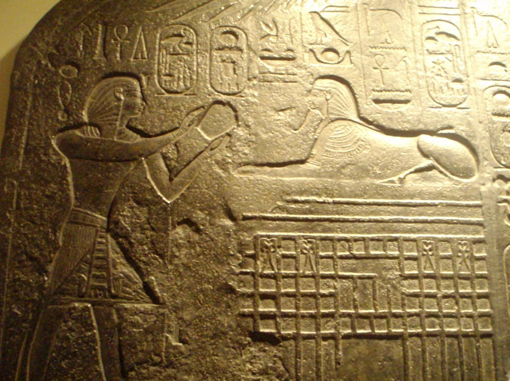 "Detail of the ""Dream Stele"" depicting pharaoh making offering to Sphinx. RC 1834 (Original 1500 - 1390 BC, made of granite, located on the Giza Plateau."