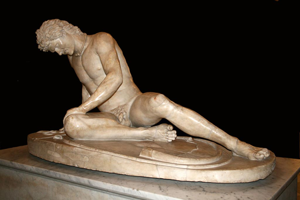 """The Dying Gaul in the Capitoline museum in Rome is an ancient Roman marble copy of a lost Hellenistic bronze sculpture which was commissioned sometime between 230 BC and 220 BC by Attalus I of Pergamon to celebrate his victory over the Celtic Galatians in Anatolia."""