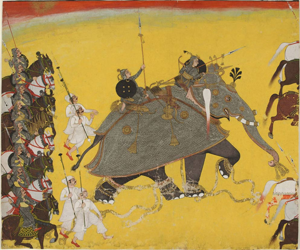 Elephant in Battle, Kota, Rajasthan, India circa 1750-70.
