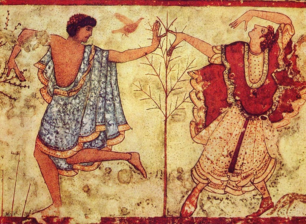 Etruscan dancers in the Tomb of the Triclinium near Tarquinia, Italy (470 BC).