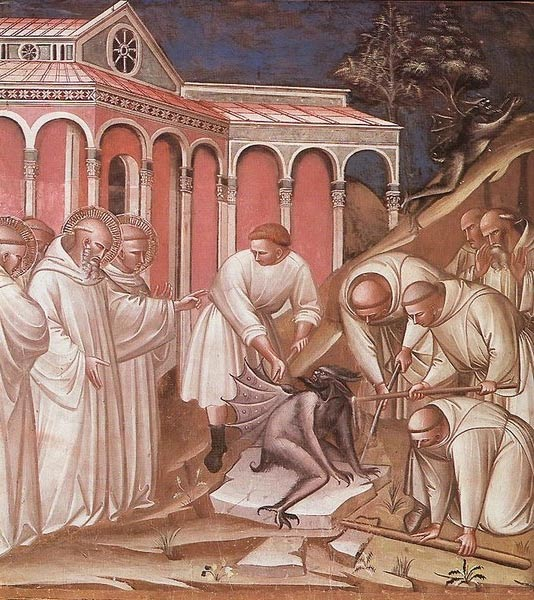 Evil was traditionally considered to be an external force, incarnated by nature or the supernatural. Exorcism of St Benedict by Spinello Aretino, 1387.