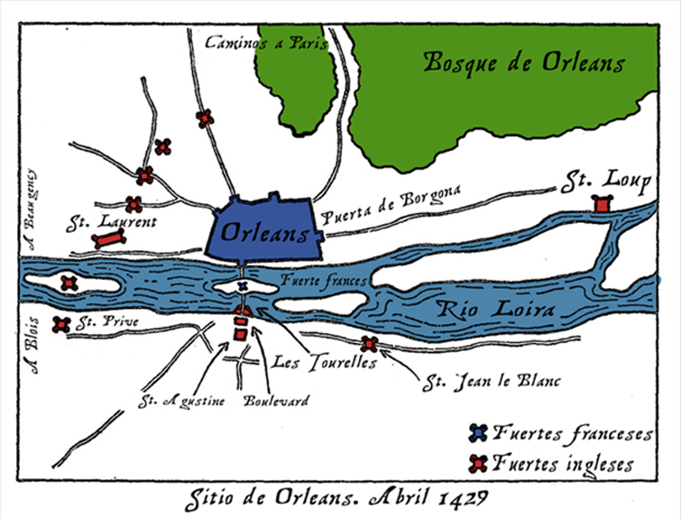Fortifications around Orleans at the time of the siege. English forts are depicted red, French forts depicted in blue.