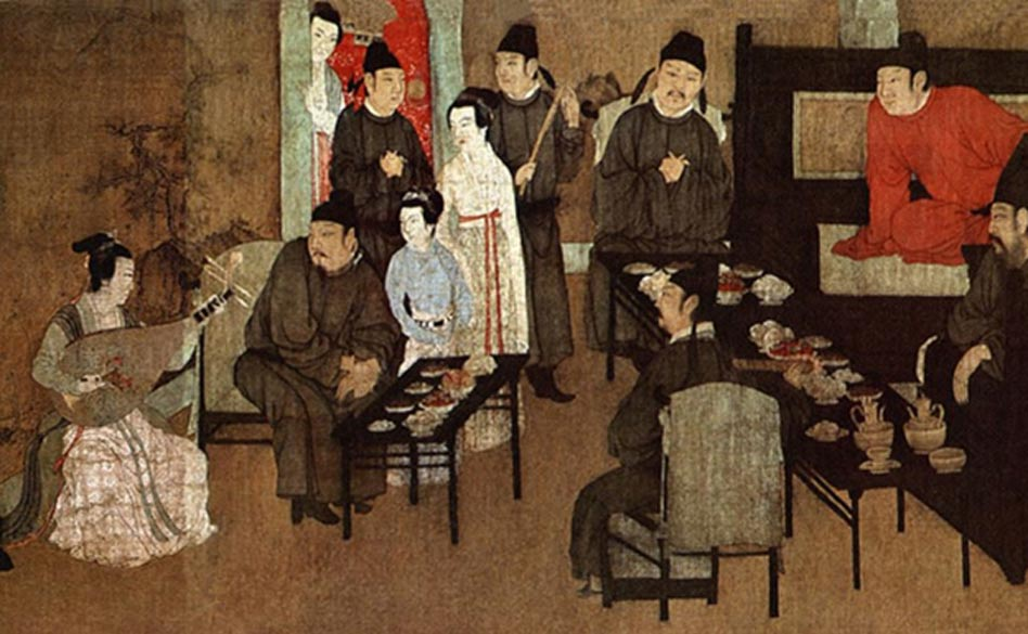 Detail; Night Revels of Han Xizai, painting depicting lady on left entertaining guests with a pipa.
