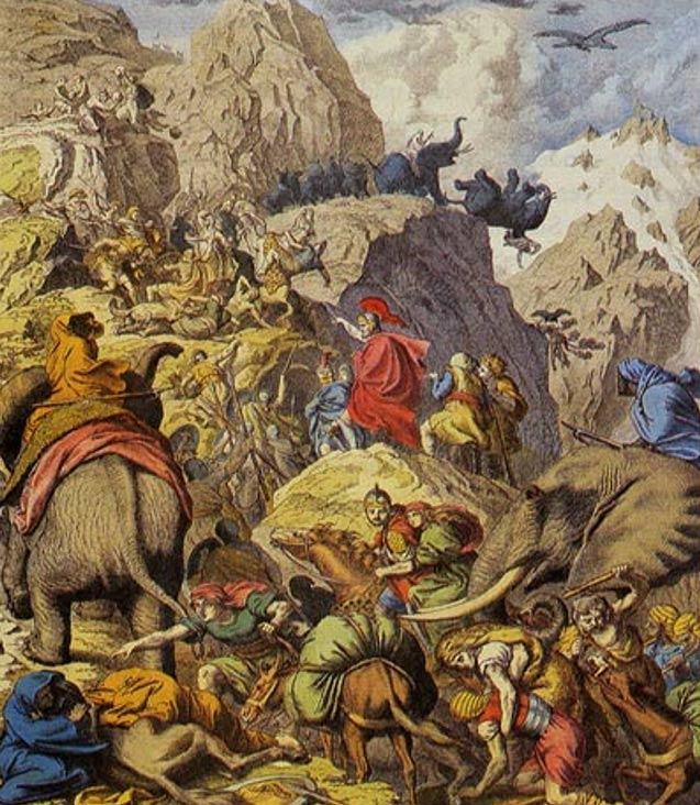 Hannibal and his men crossing the Alps on the backs of war elephants and horses.