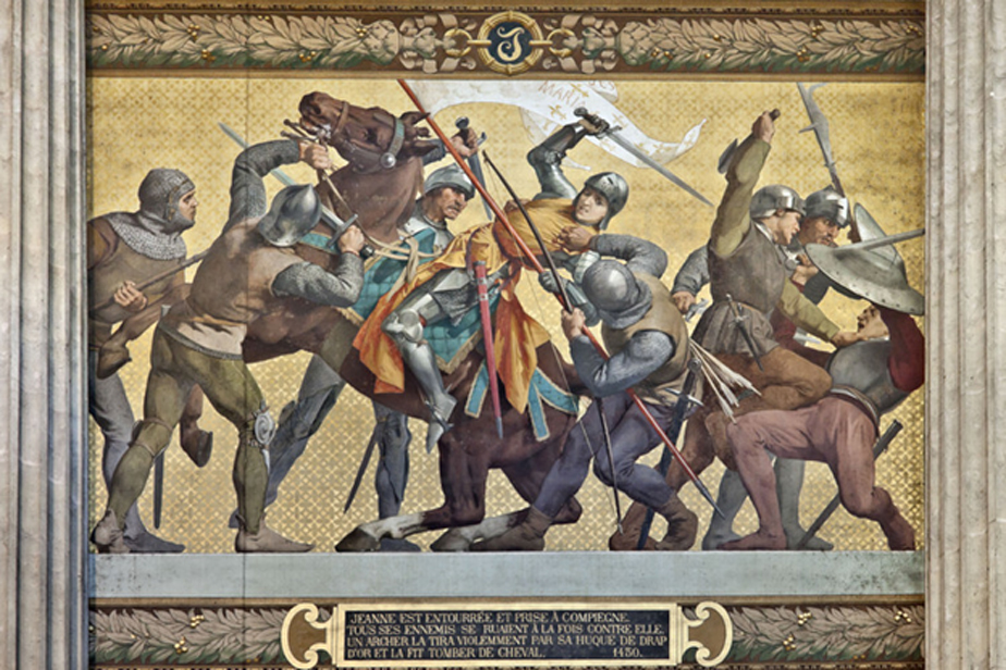 Joan captured by the Burgundians at Compiègne. Mural in the Panthéon, Paris.