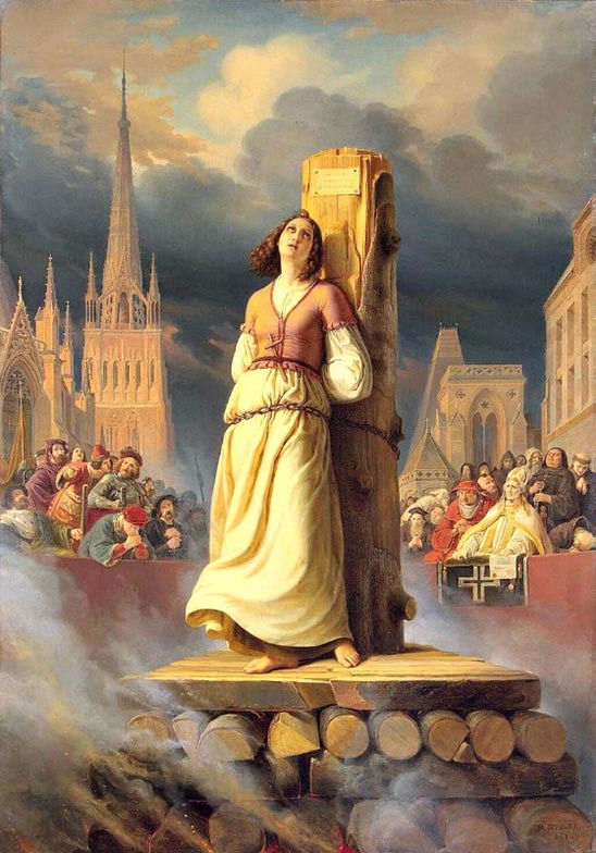 """Joan of Arc dies at the stake"", painted in 1843 by German artist Hermann Anton Stilke (1803-1860). Hermitage Museum, St. Petersburg."