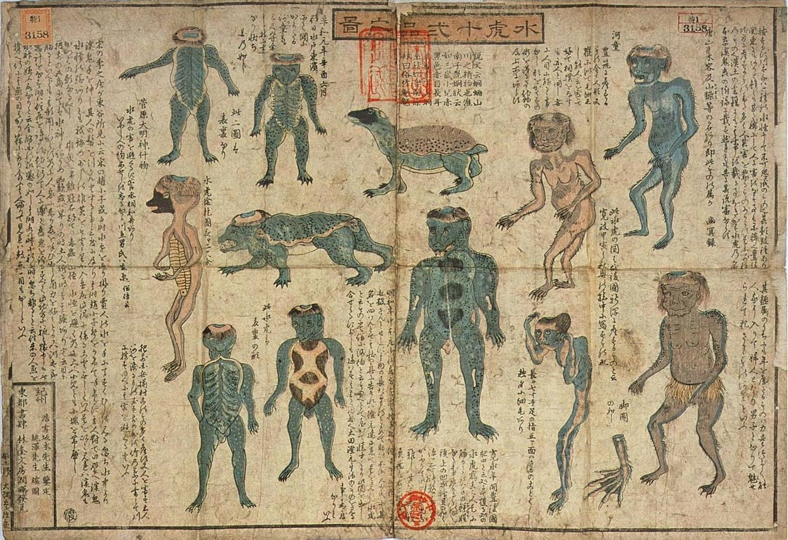 Kappa depictions in the Illustrated Guide to 12 Types of Kappa, by Juntaku (c. 1850).