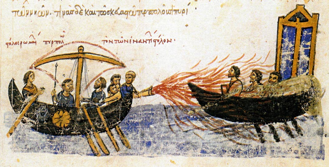 "Image from an illuminated manuscript, the Madrid Skylitzes, showing Greek Fire in use against the fleet of the rebel Thomas the Slav. The caption above the left ship reads, ""the fleet of the Romans setting ablaze the fleet of the enemies."""