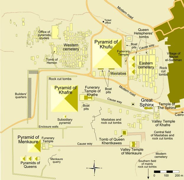 "Map of Giza pyramid complex – ""Pyramid of Khufu"" refers to the Great Pyramid."