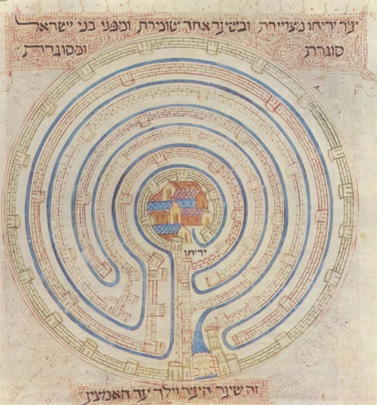 Map of Jericho in Farchi Bible, 14th century.