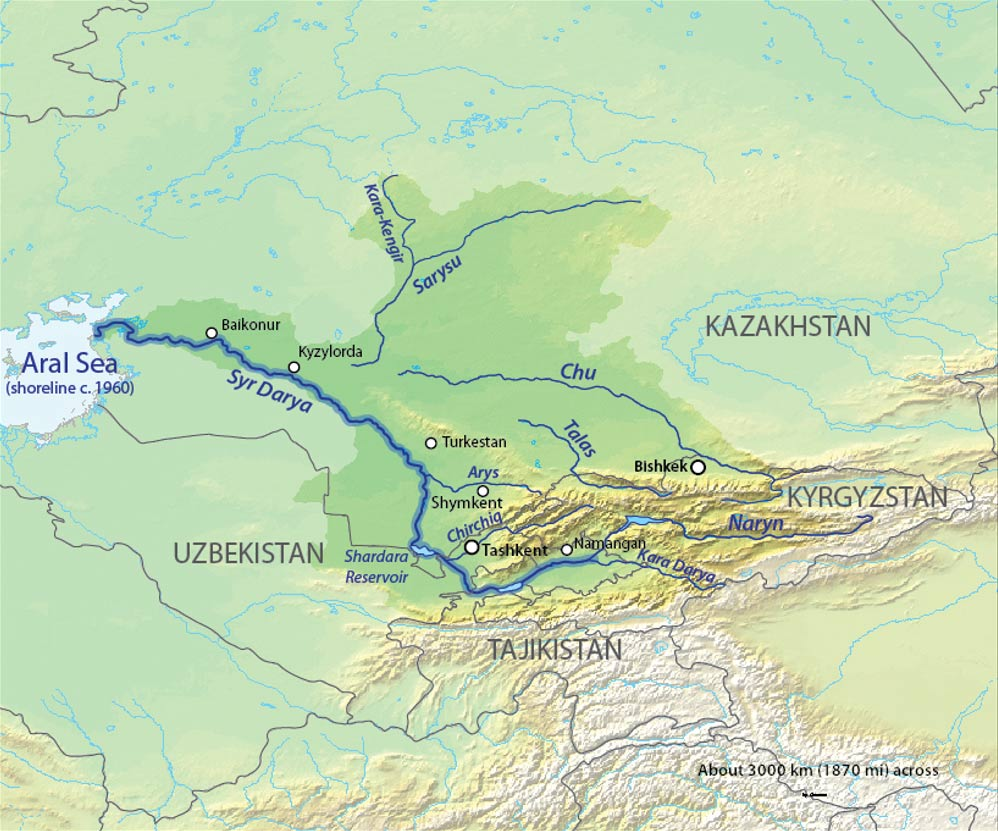Map of the Syr Darya Basin watershed, of the Syr Darya and Chu Rivers in Central Asia.