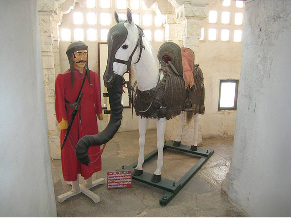 The Mewars of western India attached armor and false noses to their horses. It was said to fool their opponents' war elephants into thinking they were baby elephants so they wouldn't attack.