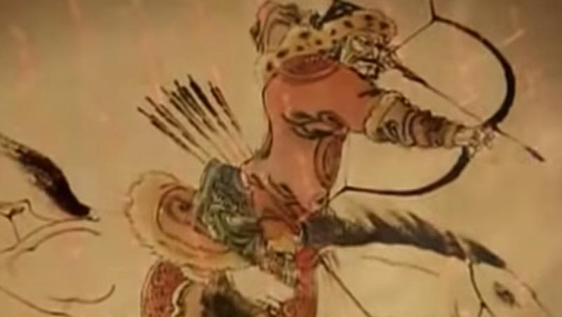 Mongol warrior on horseback, preparing a mounted archery shot.