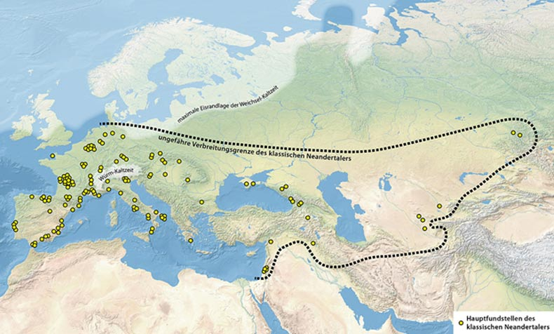 The Neanderthal's territory – where Neanderthal remains have been found, and maximum extend of ice sheet during Last Glacial Maximum.