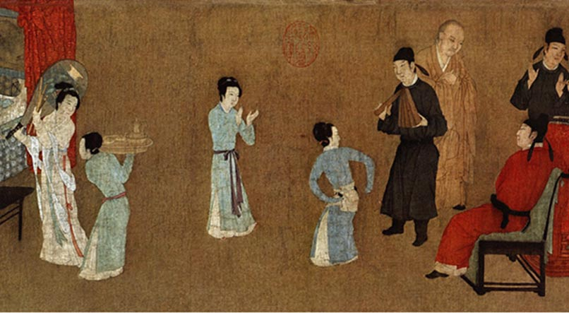Detail; Night Revels of Han Xizai, painting depicting ladies dancing and entertaining guests