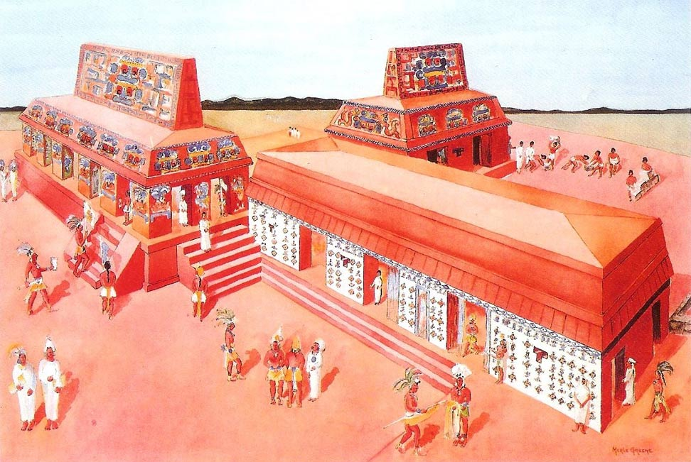 Palenque Palace House E (circa 670 CE). Building on right with white façade is the Sak Nuk Nah.