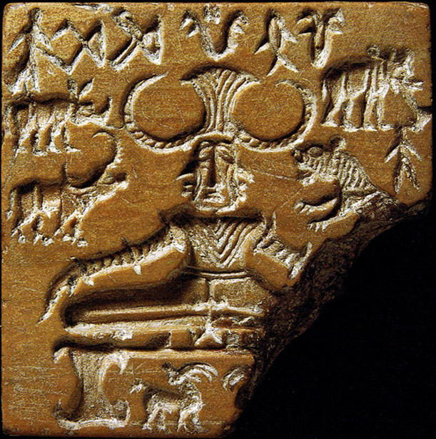 "Pashupati seal, Indus Valley civilization, has drawn attention as a possible representation of a ""yogi"" or ""proto-siva"" figure. 2600–1900 BCE."