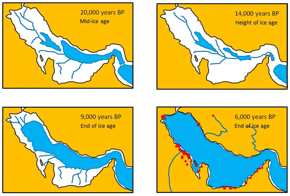 Palaeo-shoreline and drainage channels of Persian Gulf valley showing how the Gulf filled as the ice sheets melted. Red dots are Ubaid archaeological sites dating to about 7,000 to 8,000 yrs BP.