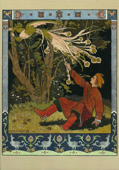 Hero of Russian folklore, Ivan Tsarevich catches the Firebird who tries to steal golden apples.