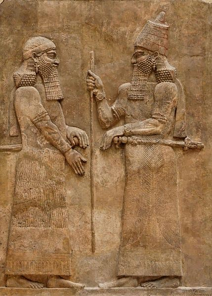 Sargon II and dignitary. Low-relief from the L wall of the palace of Sargon II at Dur Sharrukin in Assyria (now Khorsabad in Iraq), cicrca 716–713 BC.