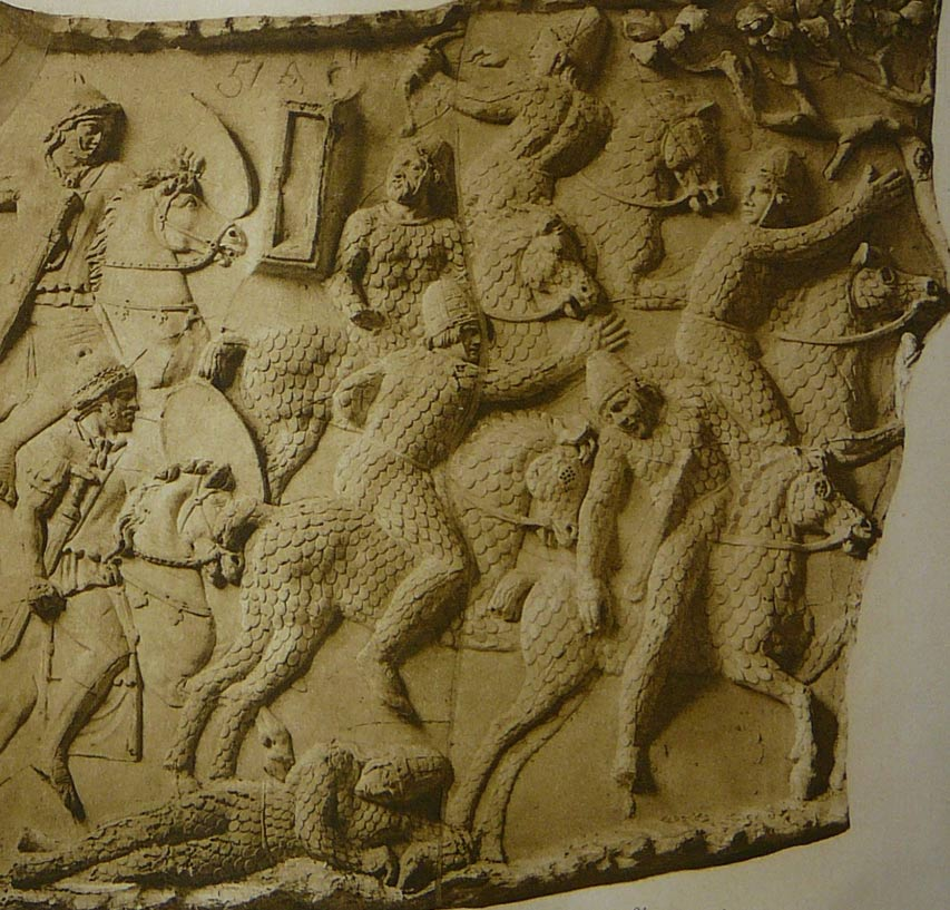 A depiction of Sarmatian cataphracts fleeing from Roman cavalry during the Dacian wars circa 101 AD, at Trajan's Column in Rome.