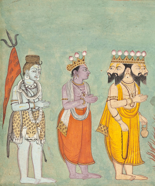 Detail; Shiva, Vishnu and Brahma.