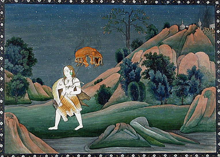 Shiva Carrying Sati on His Trident, circa 1800, India