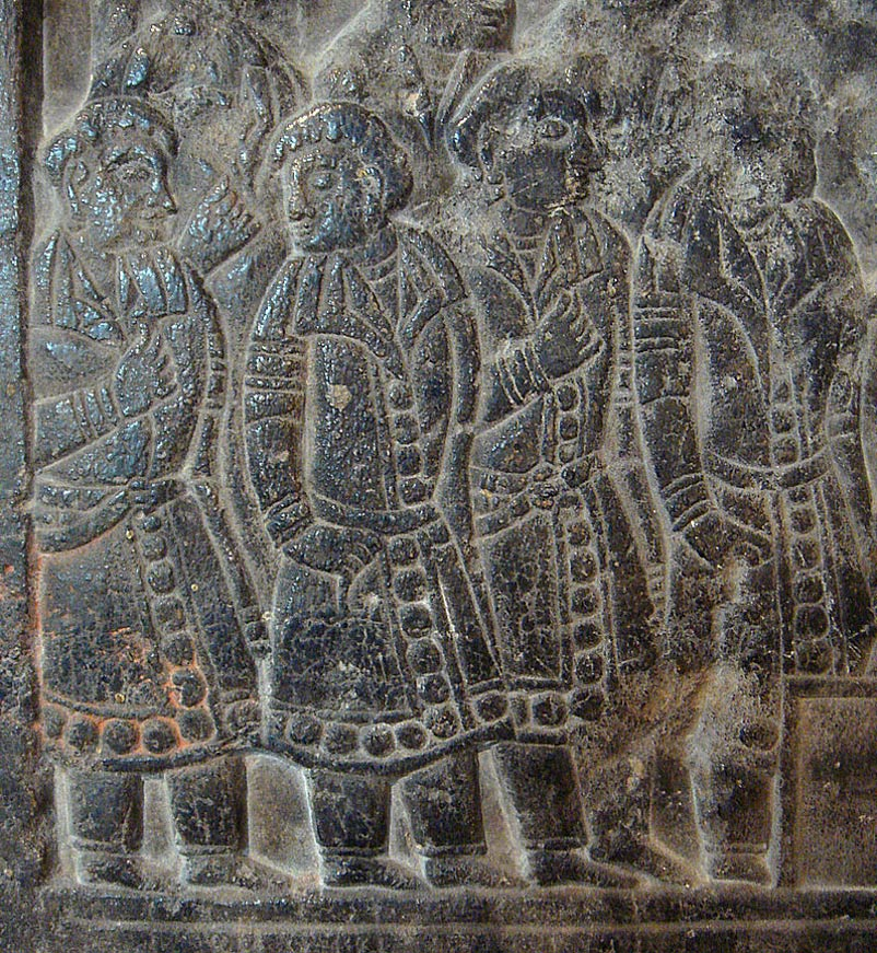 Sogdians, depicted on a Chinese Sogdian sarcophagus of the Northern Qi era.