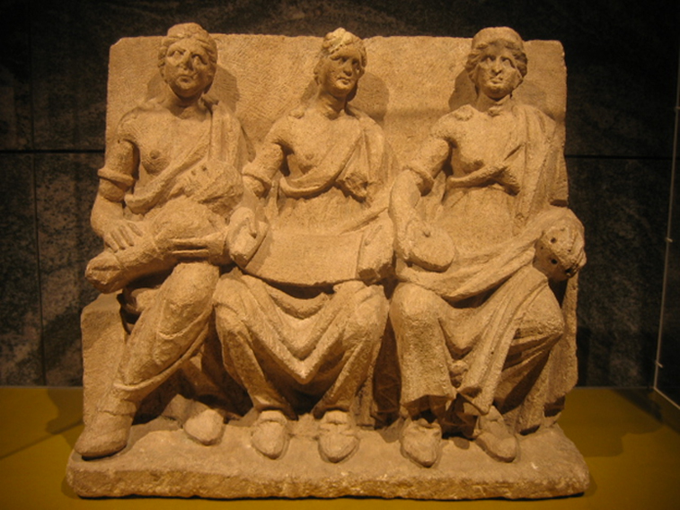 Terracotta relief of the three Matres, from Bibracte, city of the Aedui in Gaul.