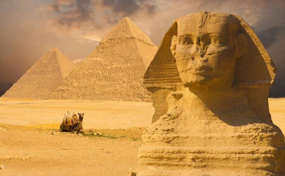 The Sphinx and Great Pyramids of Egypt.