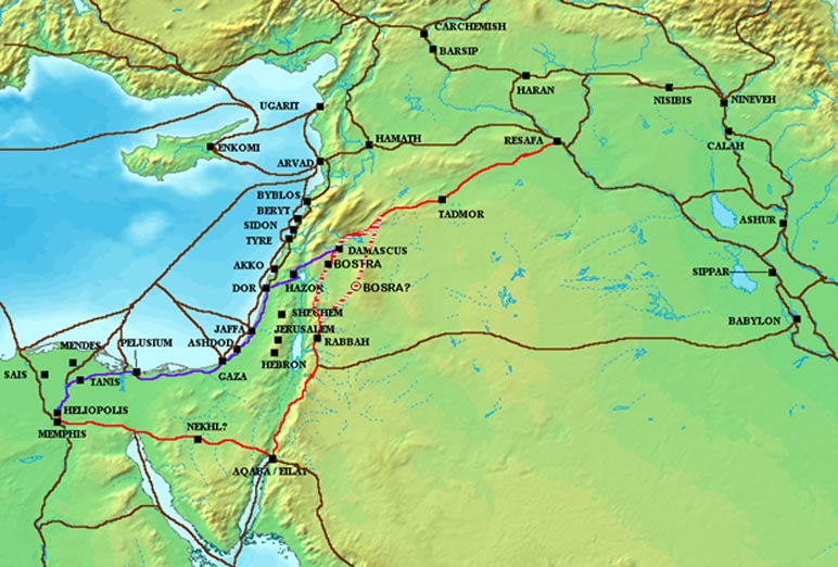 The Via Maris (purple), King's Highway (red), and other ancient Levantine trade routes, c. 1300 BCE.