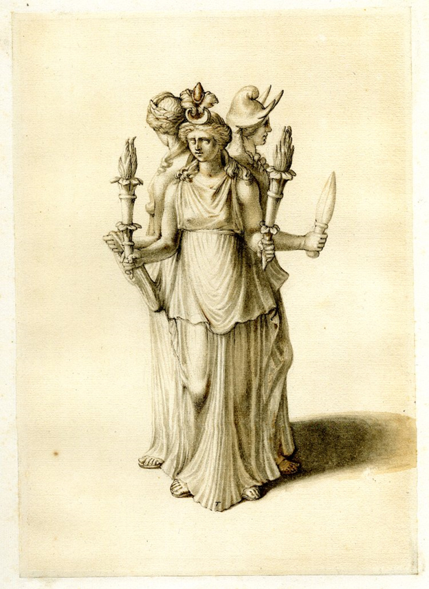 Triple-formed representation of the Greek goddess Hecate