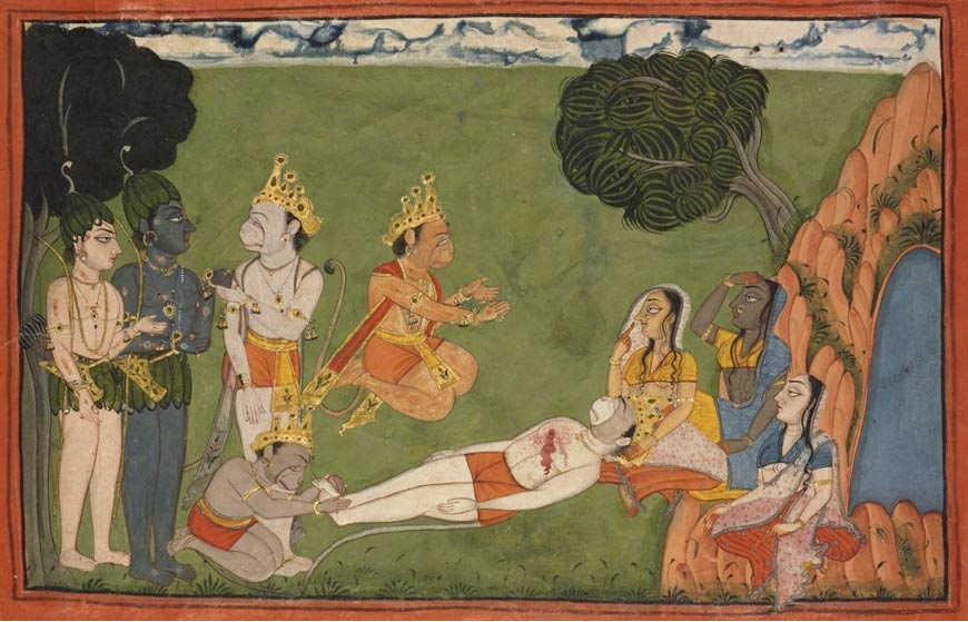 Vali dying. This scene from the Ramayana series is the climax of the struggle for rule of the monkey kingdom. Circa 1720.