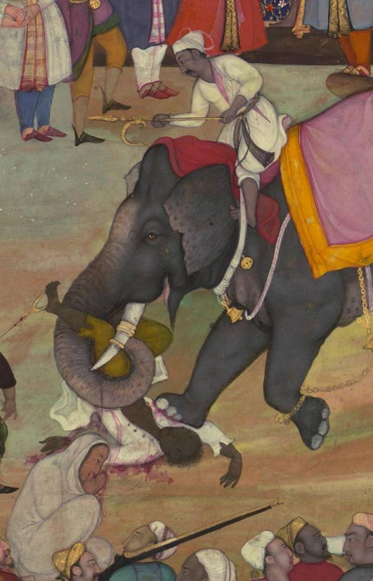 War elephants of the Mughal Empire carry out an execution.