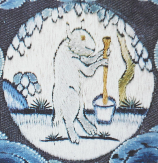 The mythological White Hare making the elixir of life on the Moon, from East Asian mythology.