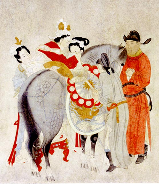 Detail of Yang Guifei Mounting a Horse, by Qian Xuan (1235-1305 AD).